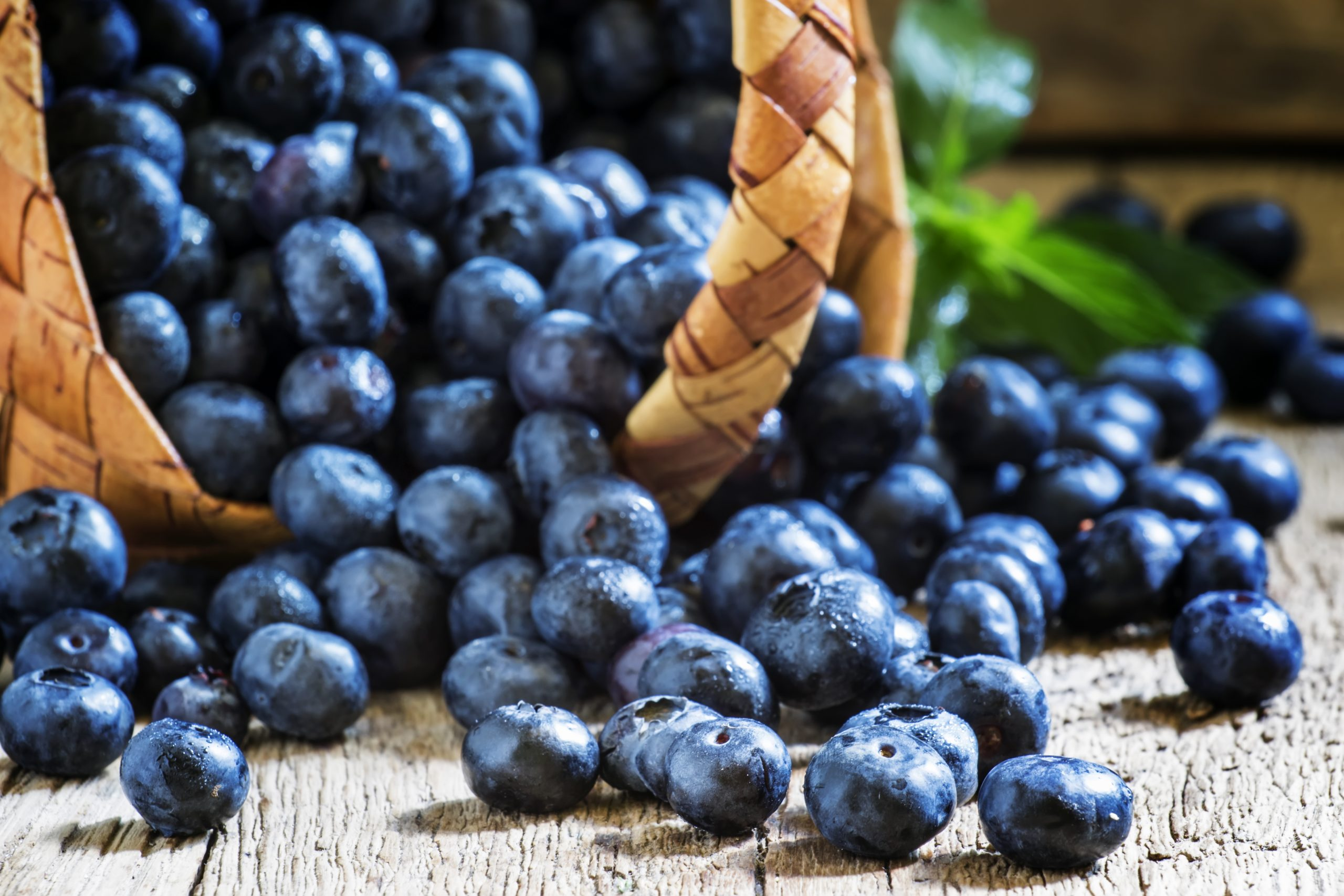 Blueberries in a basket, selective focus